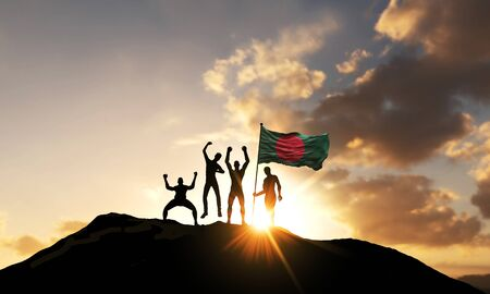 A group of people celebrate on a mountain top with Bangladesh flag. 3D Render Stock Photo