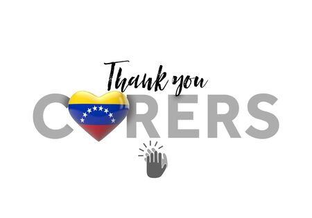 Thank you carers message with Venezuela heart flag. 3D Render