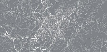Urban vector city map of Braga, Portugal Stock Illustratie