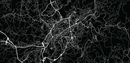 Urban vector city map of Braga, Portugal