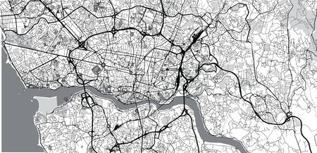 Urban vector city map of Porto, Portugal