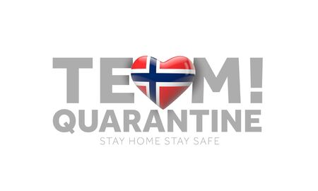 Norway team quarantine. Stay home save lives message. 3D Render Stock Photo