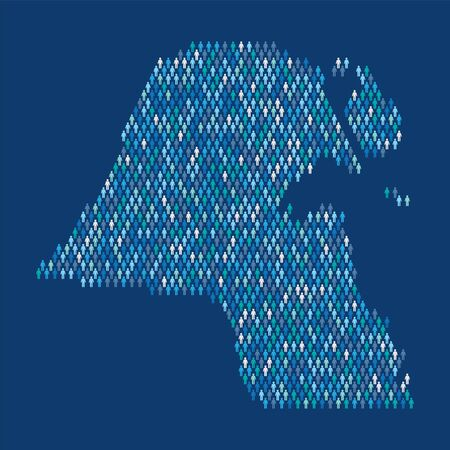Kuwait population infographic. Map made from stick figure people