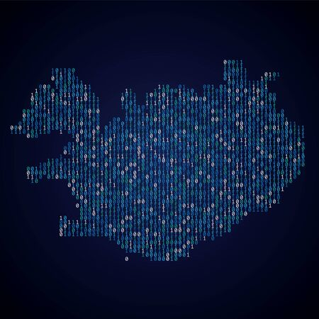Iceland country map made from digital binary code