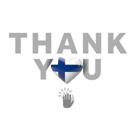 Thank you message with Finland flag heart. 3D Render Foto de archivo