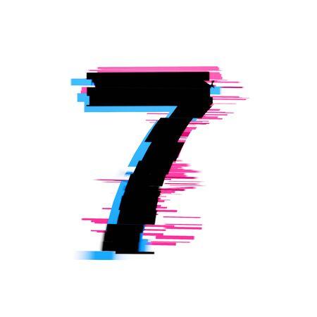 Number 7 distorted neon glitch effect text font. 3D Render 免版税图像