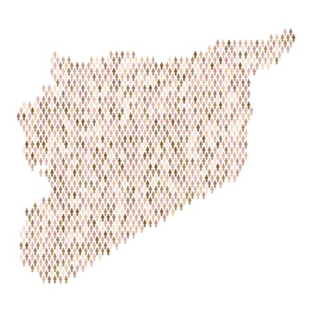 Syria population infographic. Map made from stick figure people