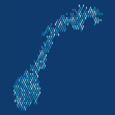 Norway population infographic. Map made from stick figure people