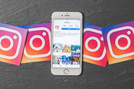 OXFORD, UK, DEC 5 2016: Smartphone shows the instagram app with instagram logos