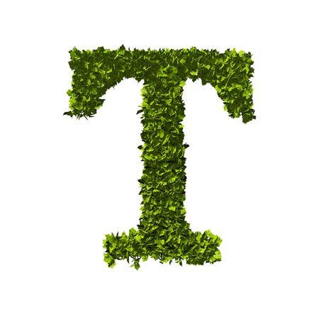 Letter T nature leaf alphabet. 3D Rendering