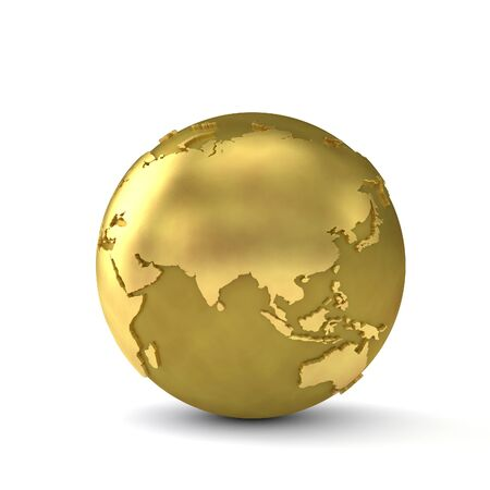 Gold globe showing the continent of asia. 3d render