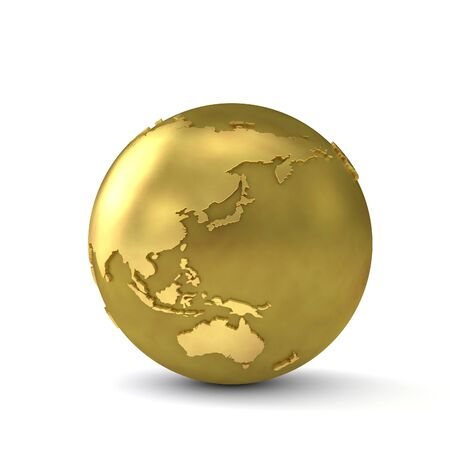 Gold globe showing east asia. 3d render