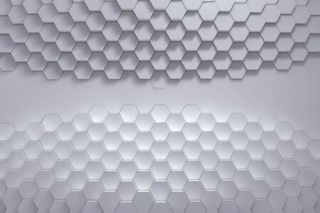 Geometric hexagon pattern background. 3D rendering