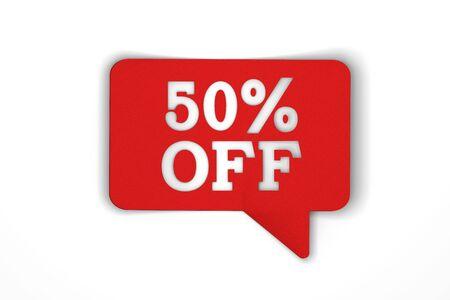 50 percent off red sale discount speech bubble. 3d render