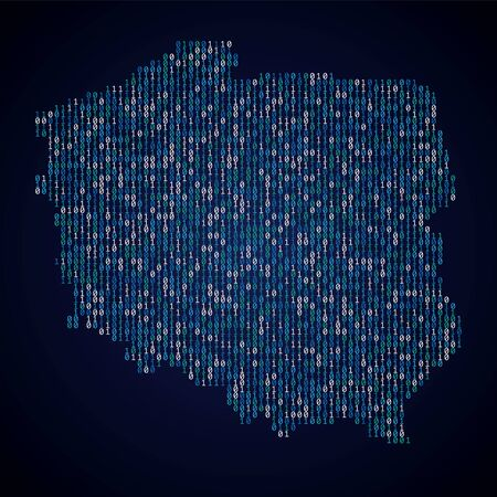 Poland country map made from digital binary code