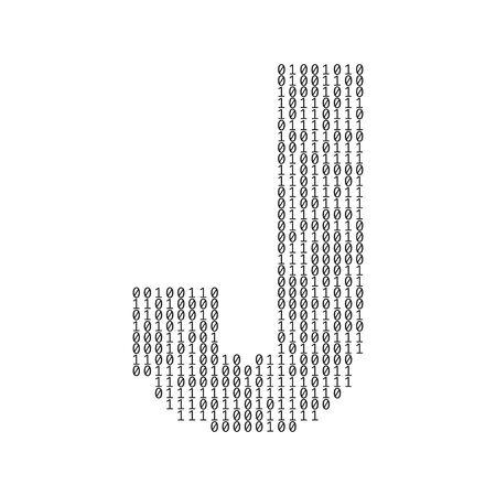 Letter J made from binary code digits. Technology background Vektoros illusztráció