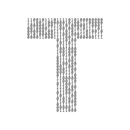 Letter T made from binary code digits. Technology background