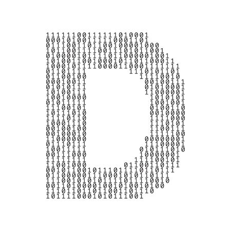 Letter D made from binary code digits. Technology background Vettoriali