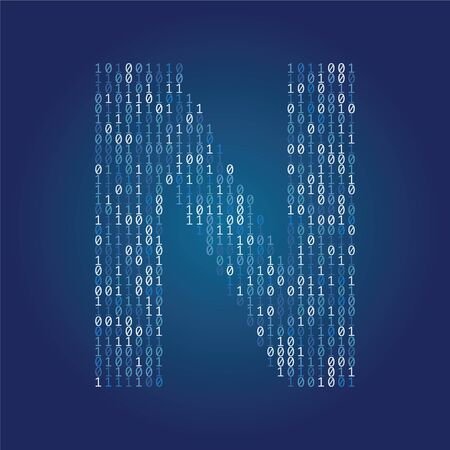 Letter N font made from binary code digits on a dark blue background