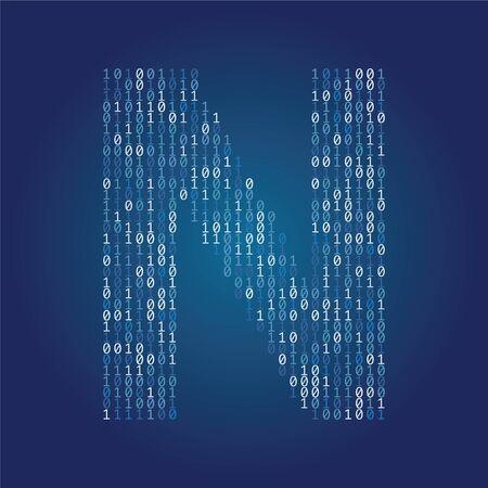 Police de la lettre N faite de chiffres de code binaire sur fond bleu foncé