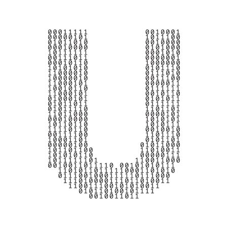 Letter U made from binary code digits. Technology background