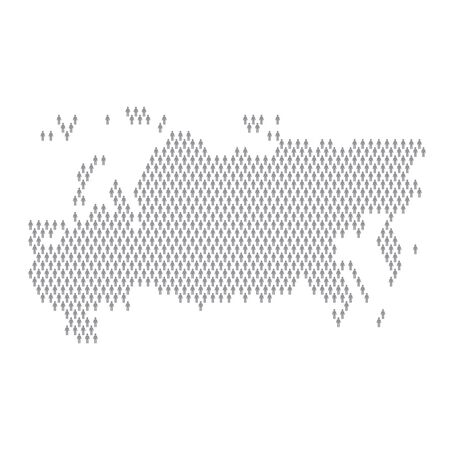 Russia population infographic. Map made from stick figure people