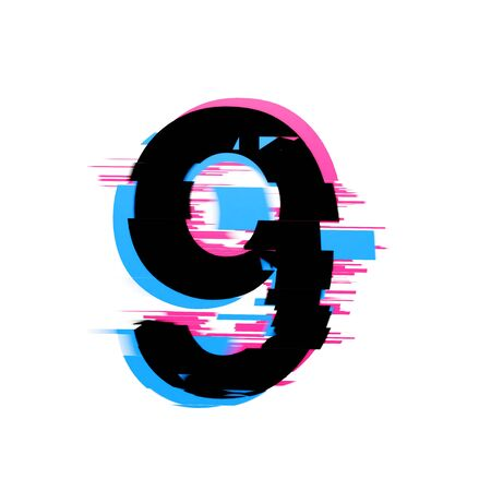 Number 9 distorted neon glitch effect text font. 3D Render