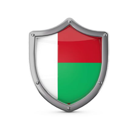 Madagascar security concept. Metal shield shape with national flag Stock Photo