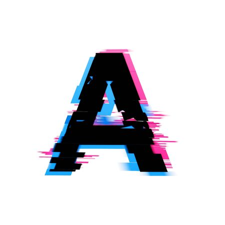 Letter A distorted neon glitch effect text font. 3D Render