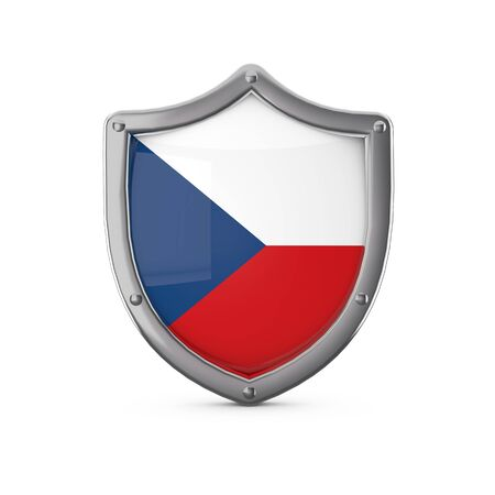 Czech Republic security concept. Metal shield shape with national flag