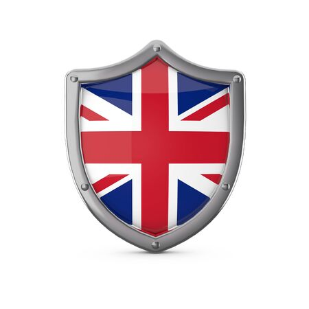 United Kingdom security concept. Metal shield shape with national flag