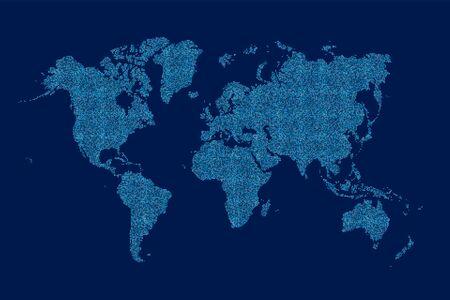 Carte du monde réalisée à partir d'un motif de points en demi-teinte Vecteurs