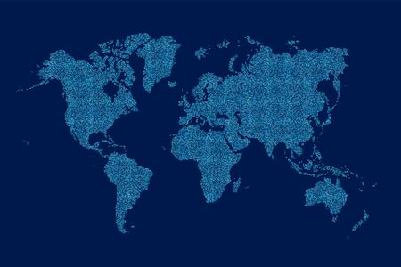 Weltkarte aus Rasterpunktmuster Vektorgrafik