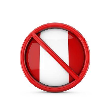 Peru flag prohibited no entry symbol. 3D Rendering