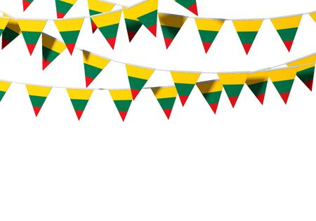 Lithuania flag festive bunting against a plain background. 3D Rendering