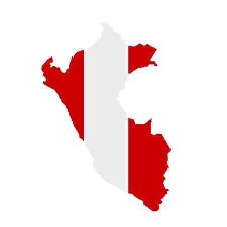 Peru flag map. Country outline with national flag Banco de Imagens