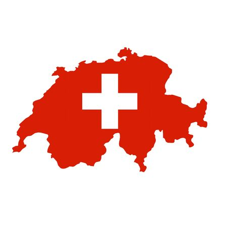 Switzerland flag map. Country outline with national flag