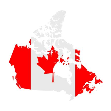 Canada flag map. Country outline with national flag