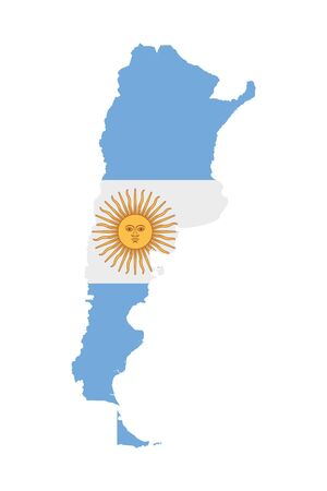 Argentina flag map. Country outline with national flag