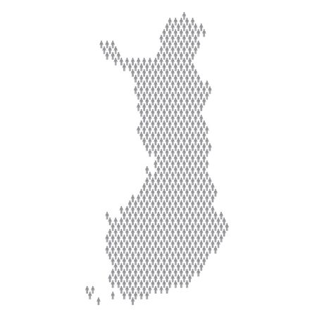 Finland population infographic. Map made from stick figure people