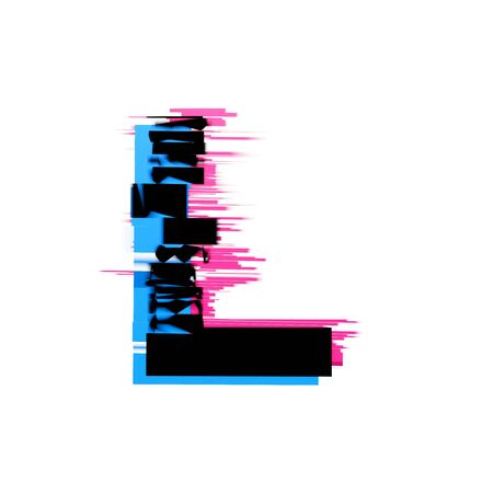 Letter L distorted neon glitch effect text font. 3D Render