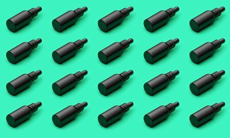 Black oil dropper bottle with blank label on a green background. 3D Render