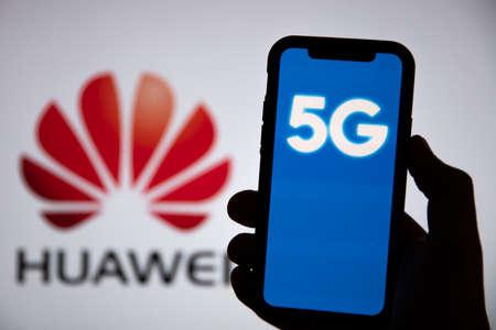 LONDON, UK - May 6th 2020: Huawei logo 5G communication technology concept
