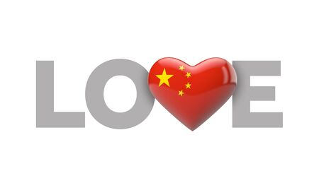 Love China heart shaped flag with love word. 3D Rendering
