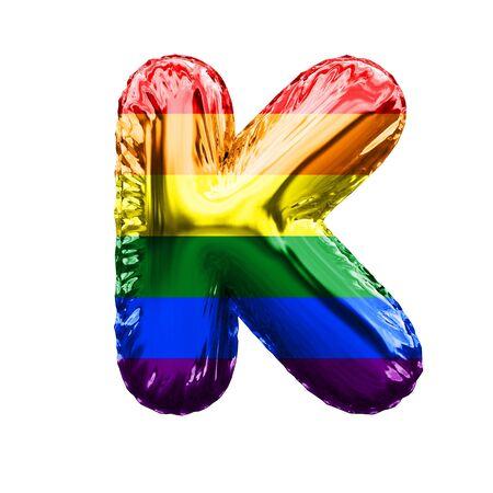 Letter K pride flag shiny foil balloon font. 3D Rendering