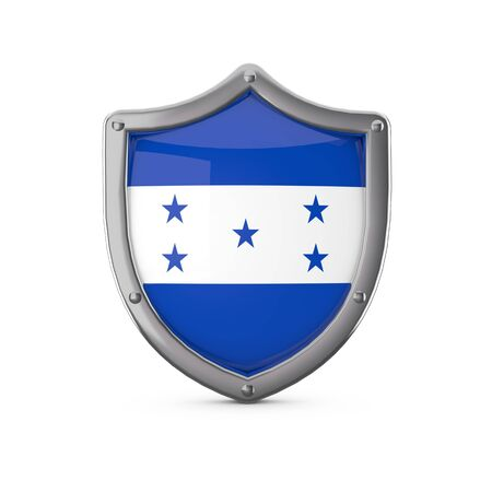 Honduras security concept. Metal shield shape with national flag 스톡 콘텐츠