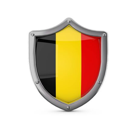 Belgium security concept. Metal shield shape with national flag