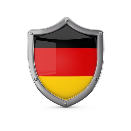 Germany security concept. Metal shield shape with national flag 스톡 콘텐츠
