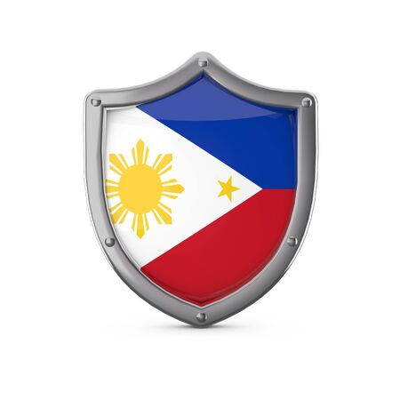 Philippines security concept. Metal shield shape with national flag