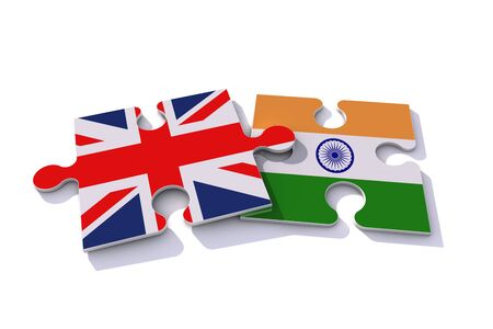 United Kingdom and India flag puzzle pieces. 3D rendering 免版税图像